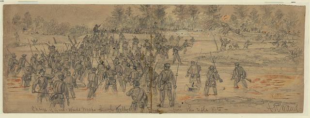Charge of Genl. Wards troops through Kellys Ford upon the rifle pits