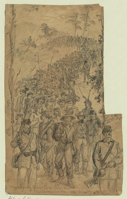 Marching prisoners over the mountains to Frederick, M.D.