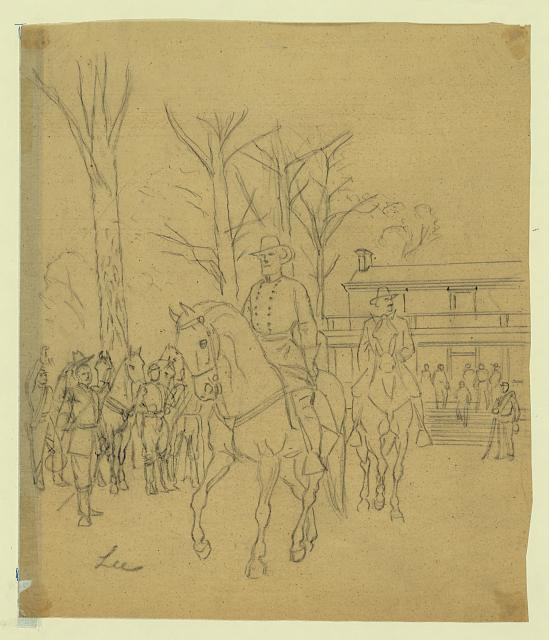 [Robert E. Lee leaving the McLean House following his surrender to Ulysses S. Grant]