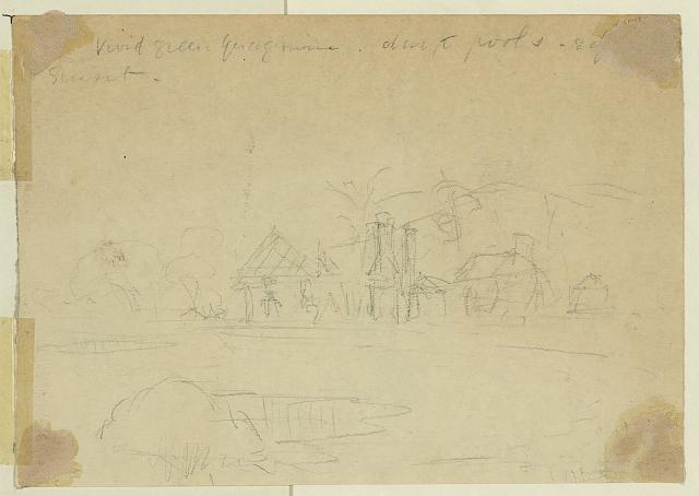 [Farmhouses by a pond]