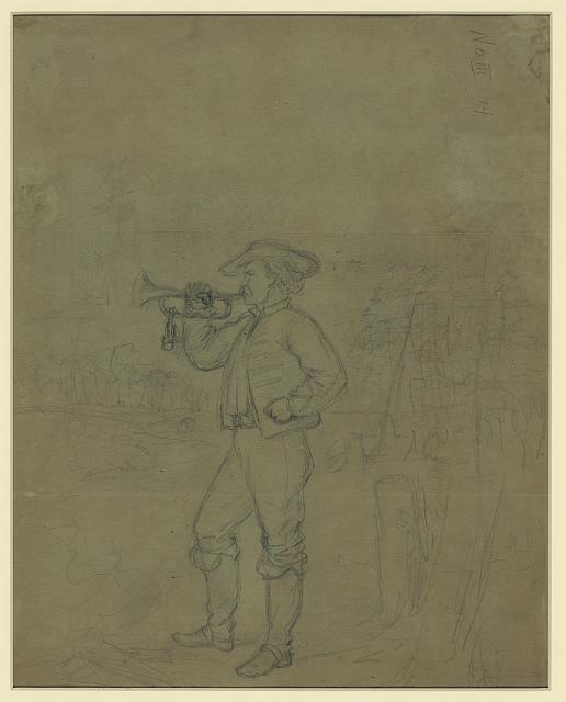 [Full length portrait of a bugler]