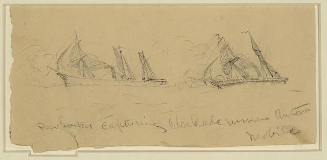 Pocohontus [sic] capturing blockade runner Antonia. Mobile