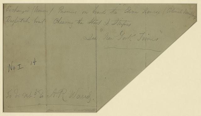 Exchanged (Union) Prisoners on board the  liza Hancox [sic] (Colonel Mulford) Despatch boat--Cheering the Stars & Stripes
