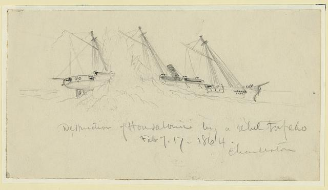 Destruction of Housatonic by a rebel torpedo. Feb. of 17 1864. Charleston