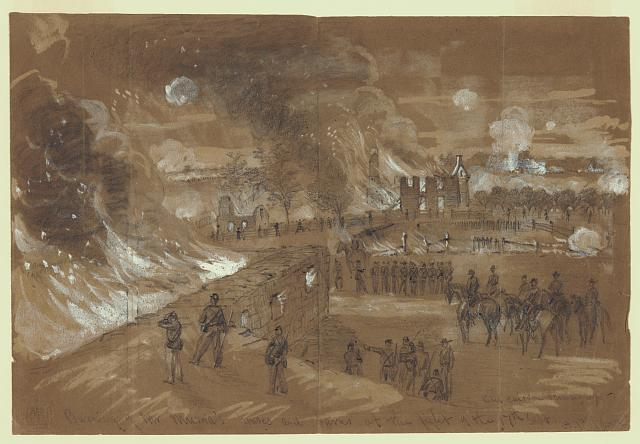 Burning of Mr. Muma's [sic] houses and barns at the fight of the 17th of Sept.