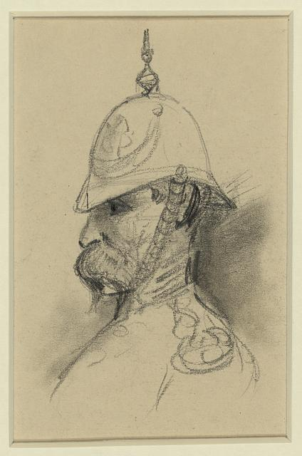 [Bust Portrait of soldier with German-style helmet]