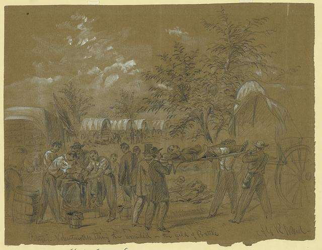 Citizen volunteers assisting the wounded in the field of Battle