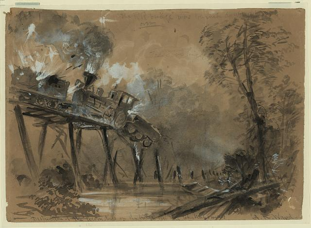 Destruction of the locomotives on the bridge over the Chickahominy
