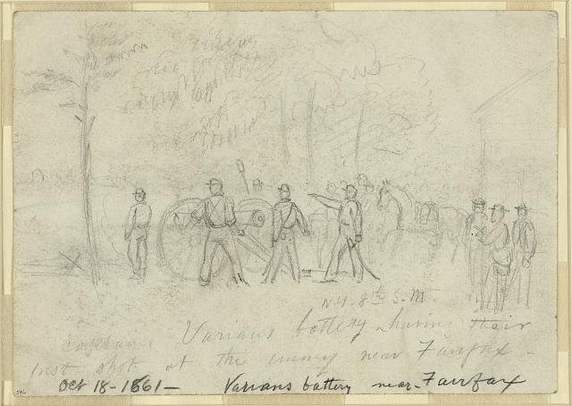 Captain Varians battery N.Y. 8th S.M. having their first shot at the enemy near Fairfax