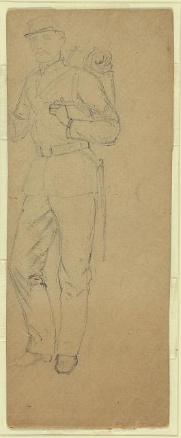 [Full-length sketch of soldier]