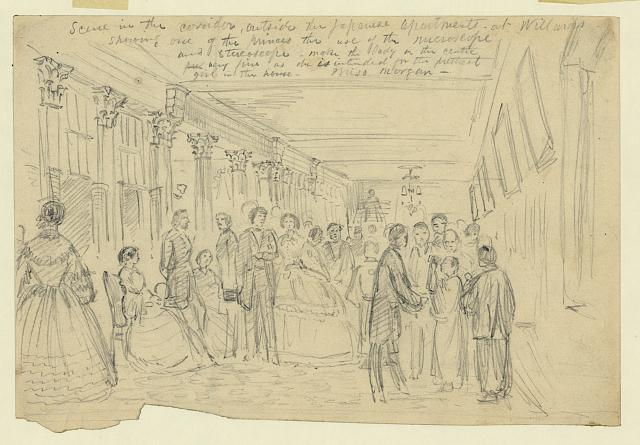 Scene in the corridor, outside the Japanese apartments at Willards showing one of the princes the use of the microscope and stereoscope