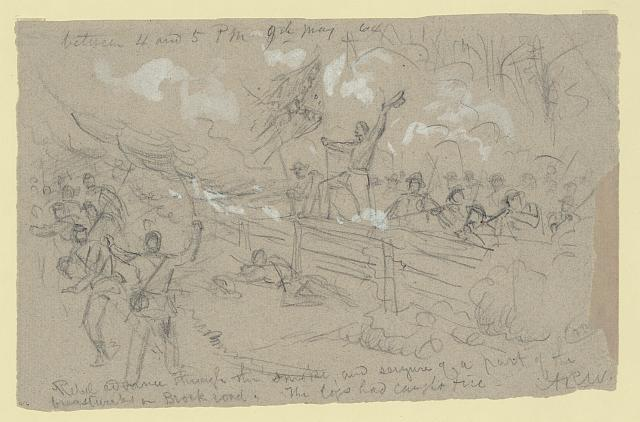 Rebel advance through the smoke, and seizure of a part of the breastworks on Brock road. The logs had caught fire