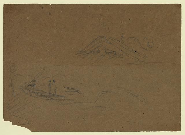 [Railroad track and hillside with figures]