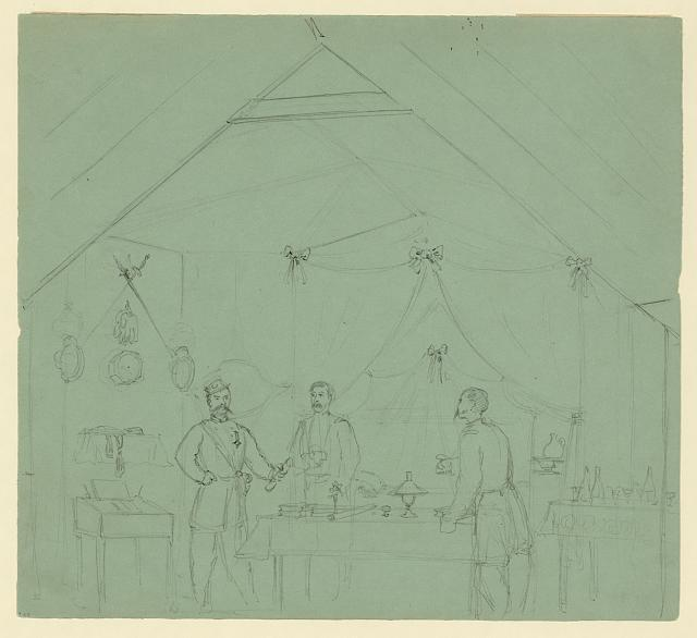 [Three officers talking inside a tent]
