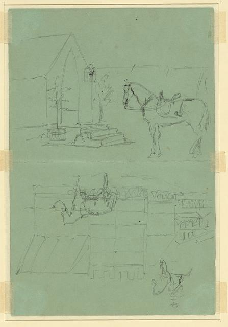 [Two sketches of horse outside tent]