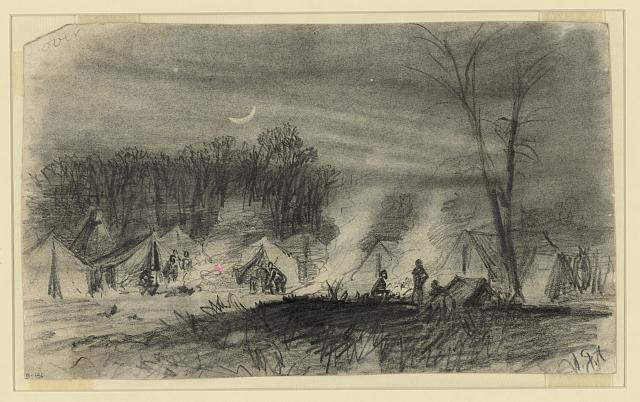 [Soldiers in camp at night]