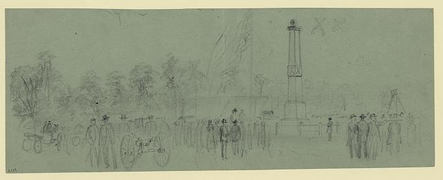 [Group of civilians near monument]