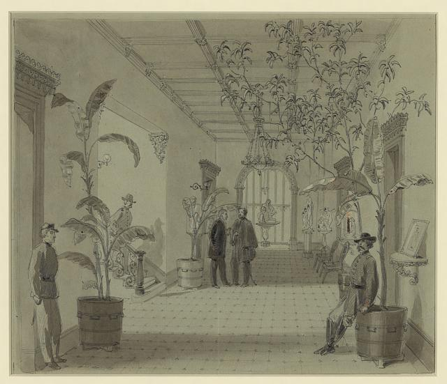 Entrance Hall of Mr Chas. Green's house, Savannah Ga, now occupied as Head Quarters by Gen Sherman