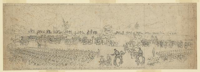 Slocum's Artillery engaged with the enemy on the Charles City Road. (Seven days fighting) The 16th N.Y. Regt as supports
