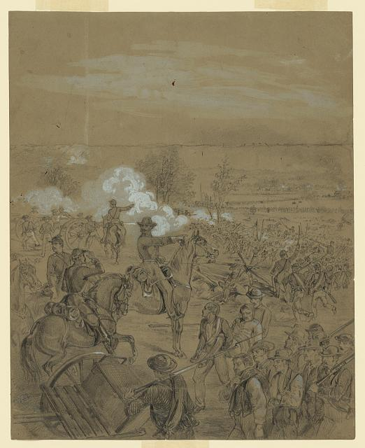 [An officer directing his troops into battle]