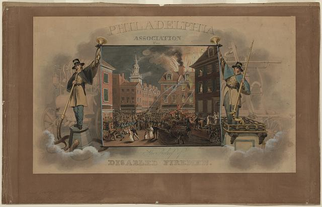[Design for a certificate for the Philadelphia Association for the Relief of Disabled Firemen, with a view of a fire at 7th and Sansom Streets in Philadelphia]