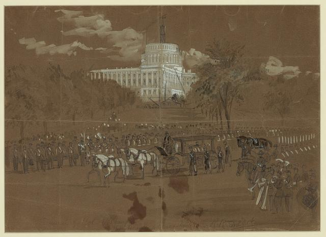 Funeral of Col. Vosburgh. The Hearse approaching the R.R. Depot