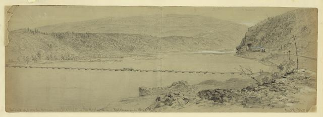 Pontoon Bridge over the Potomac. Maryland heights in the distance and Baltimore and Ohio R.R.