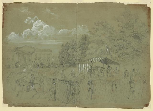 President Lincoln and Genl. Scott Reviewing 3 years regiment on Penn Ave. 1861