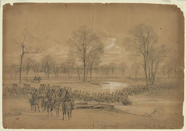Genl. McClellan and Staff accompanied by the 5th Cavalry crossing Bull Run at Blackburns Ford