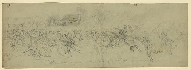 Rebel prisoners captured in the charge of Genl. Wrights Corps--running in