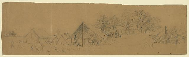 [Soldiers in their tents in army camp]