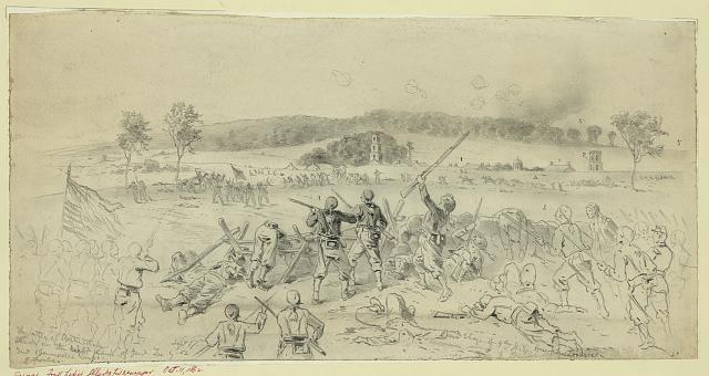 The battle of Antietam--Charge of Burnside 9th Corps on the right flank of the Confederate Army