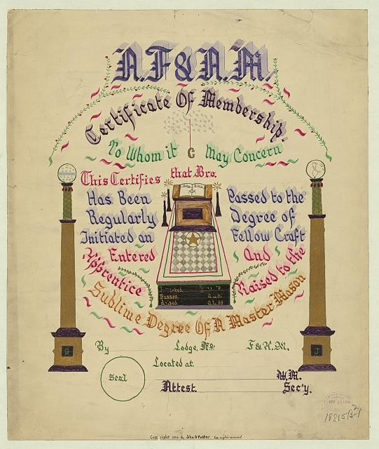 A.F. &amp; A.M. certificate of membership