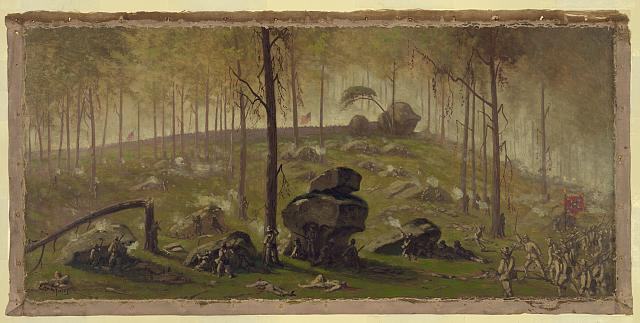 Attack of Johnston's Div., C.S.A. on the breastworks on Culps Hill defended by Wadsworth's Div., 1st Corps, and a part of the 12th Corps [under] General Slocum, half past seven P.M., July 2nd