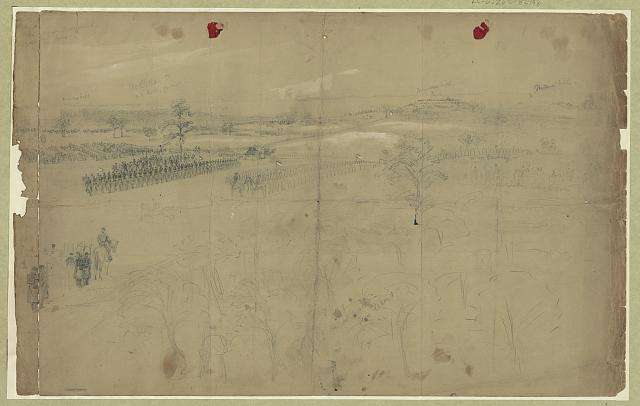 [McClellan reviewing his troops near Baileys Cross Roads]