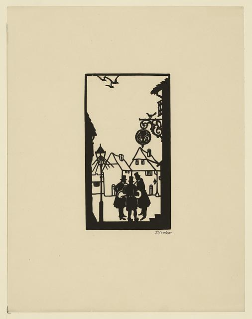[Silhouette of three men gathered in a square]