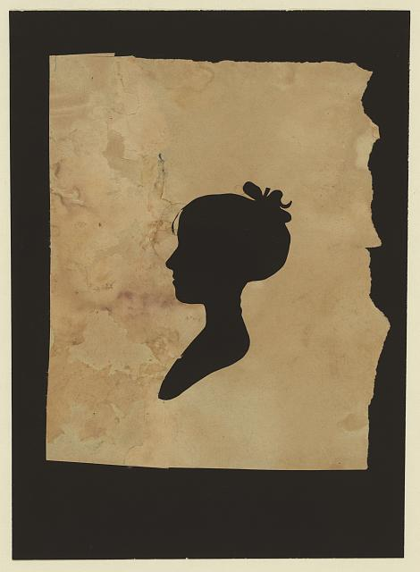 [Silhouette of unidentified girl facing left, no. 1]