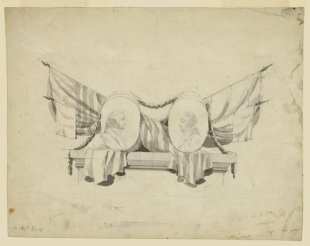 [Medallion portraits of Washington and Lafayette, on plinth draped with flags]
