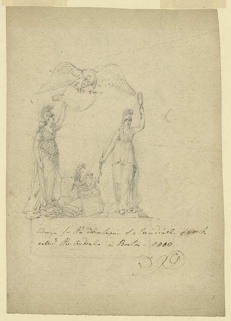 "Design for the frontispiece of a periodical work called ""The ordeal"" in Boston, 1810"