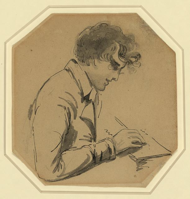 [Gilbert Stuart, self-portrait, half-length, right profile, holding pencil or brush, drawing]