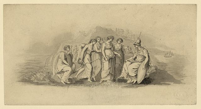 [Study for bank-note vignette: Minerva with classical figures]