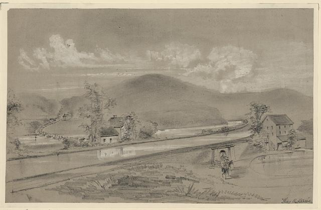 [The Confederates under Stuart crossing the Potomac at McCoy's Ferry to destroy the Baltimore & Ohio Canal]