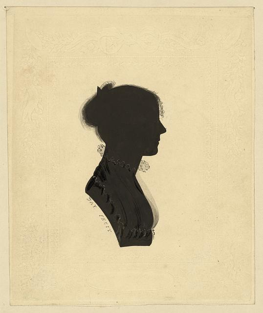 [Silhouette of a woman wearing an Empire dress facing right]