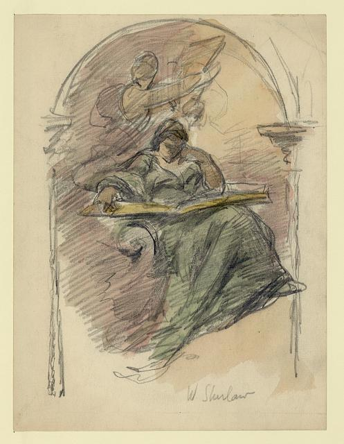 [Study drawing for mural of woman reading]