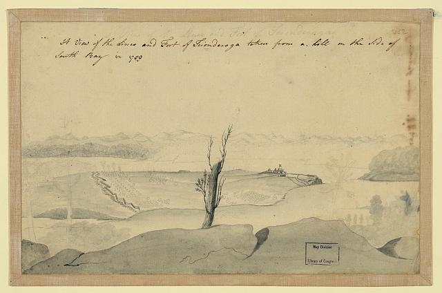 A view of the lines and Fort of Tcionderoga [e.g. Ticonderoga] taken from a hill on the side of South Bay in 1759