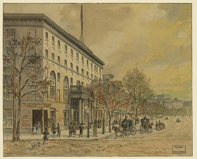 [View of Washington looking down Pennsylvania Ave. toward unfinished Capitol. National Hotel on left, no. 1]