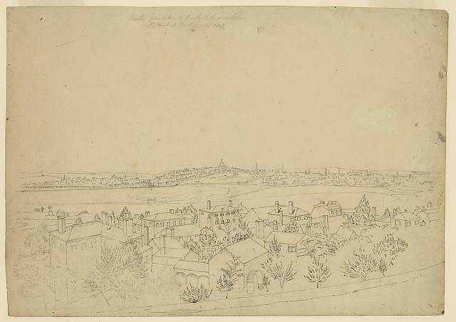 Boston, Charlestown & Bunker Hill as seen from the fort at Roxbury, 1828