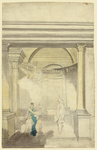 [Allegorical scene of interior with columns, Minerva, Fame, and other figures; possibly a design for a certificate]