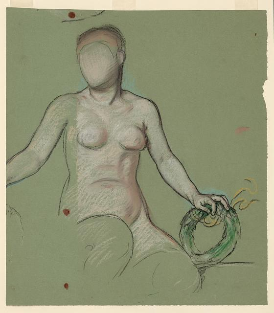 [Study of the figure of Peace in Peace and prosperity holding a green wreath]