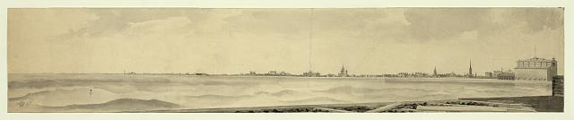 Lake front, Michigan Avenue, Chicago, Illinois in 1865